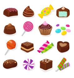 Cartoon black chocolate sweet candies and vector