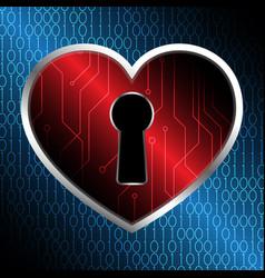 Technology cyber security keyhole love heart vector