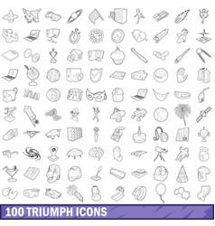 100 triumph icons set outline style vector