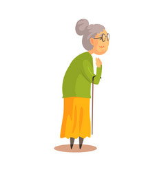 old woman with walking stick standing and vector image