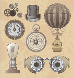 Vintage steampunk design elements vector