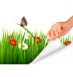 Spring background with flowers grass and a hand vector