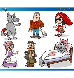 Little red riding hood characters vector