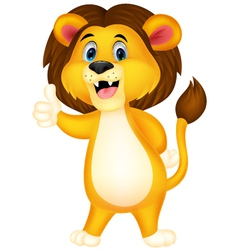 Cute lion cartoon giving thumb up vector