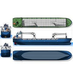 Orthogonal blue print of a cargo ship vector