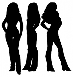 three female silhouettes vector image