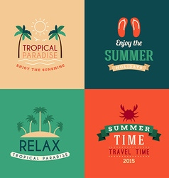 Set of summer holidays hipster vintage labels or vector