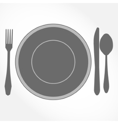 Dinner set - plate knife spoon and fork vector