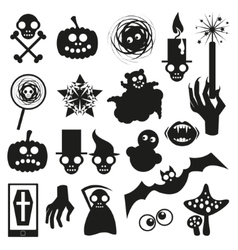 Collection of halloween black icons vector