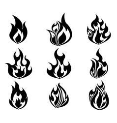 Set of fire flames icon in black and white color vector