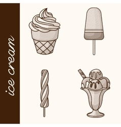 Etching ice cream vector