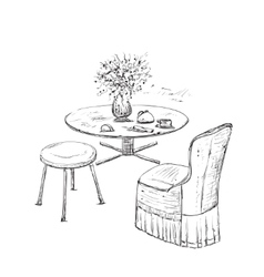 Room interior sketch hand drawn furniture vector