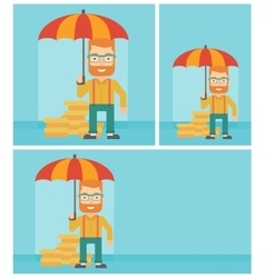 Businessman with umbrella protecting money vector