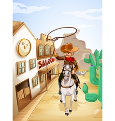 A man with a rope riding in a horse vector image vector image