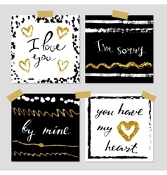 A set of hand drawn style greeting cards in black vector