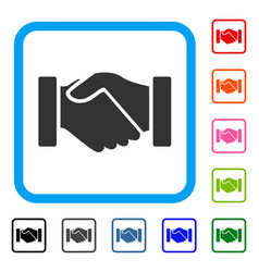 Acquisition handshake framed icon vector