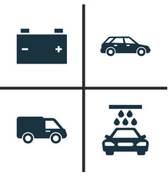 auto icons set collection of transport cleaning vector image vector image