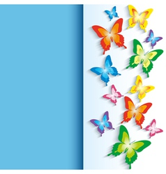 Background with 3d colorful butterfly vector