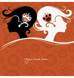 Background with girls silhouette vector image