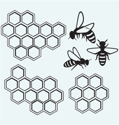 Bees on honey cells vector
