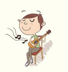 Boy playing guitar vector