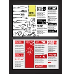 Cafe menu restaurant brochure food design template vector