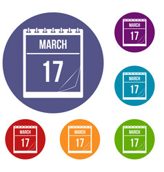 Calendar with date of march 17 icons set vector