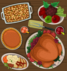 Cartoon thanksgiving dish combination top view vector