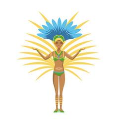 Cartoon woman samba dancer brazil carnival vector
