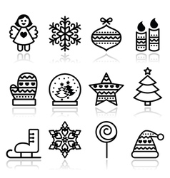 Christmas icons with stroke - Xmas tree angel vector image vector image