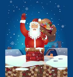 Christmas santa claus cartoon waving her vector