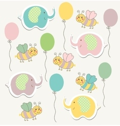 Colorful doodle templat for child baby shower vector