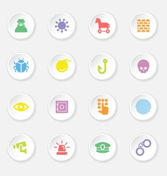 Colorful flat icon set 7 on white circle button wi vector