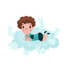 cute little boy lying on a cloud kid fantasizes vector image vector image