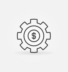 gear with dollar outline icon vector image vector image