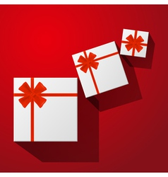 Gift with red bow with ribbons vector image vector image