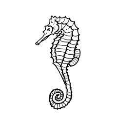 Hand drawing seahorse silhouette vector image vector image
