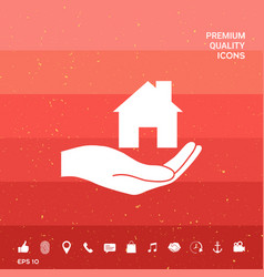 Hand holding home vector