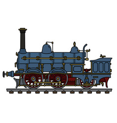 historical blue steam locomotive vector image vector image