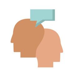 Human heads idea communiaction bubble speech vector