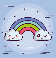Kawaii cloud with a rainbow vector