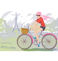 Lady Biking Around Paris vector image vector image