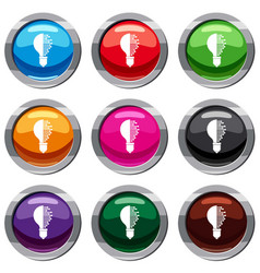 Lightbulb with microcircuit set 9 collection vector