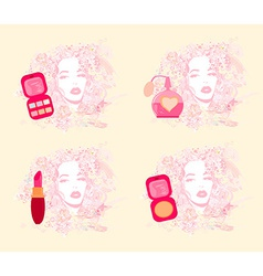Make-up girl - poster set vector image vector image