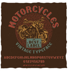 Motorcycles vintage label typeface poster vector