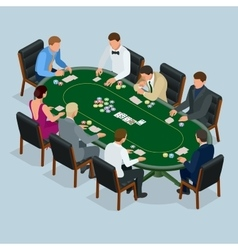 People playing poker in the casino gambling vector