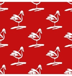 Seamless pattern with roosters Drawn cocks brush vector image