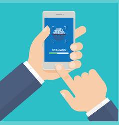 smart phone with process of scanning fingerprint vector image