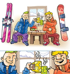 Snowboarder and Skier vector image