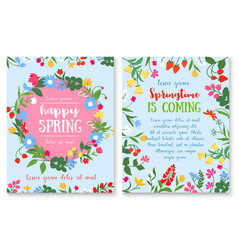 Spring holiday poster with flower and berry wreath vector